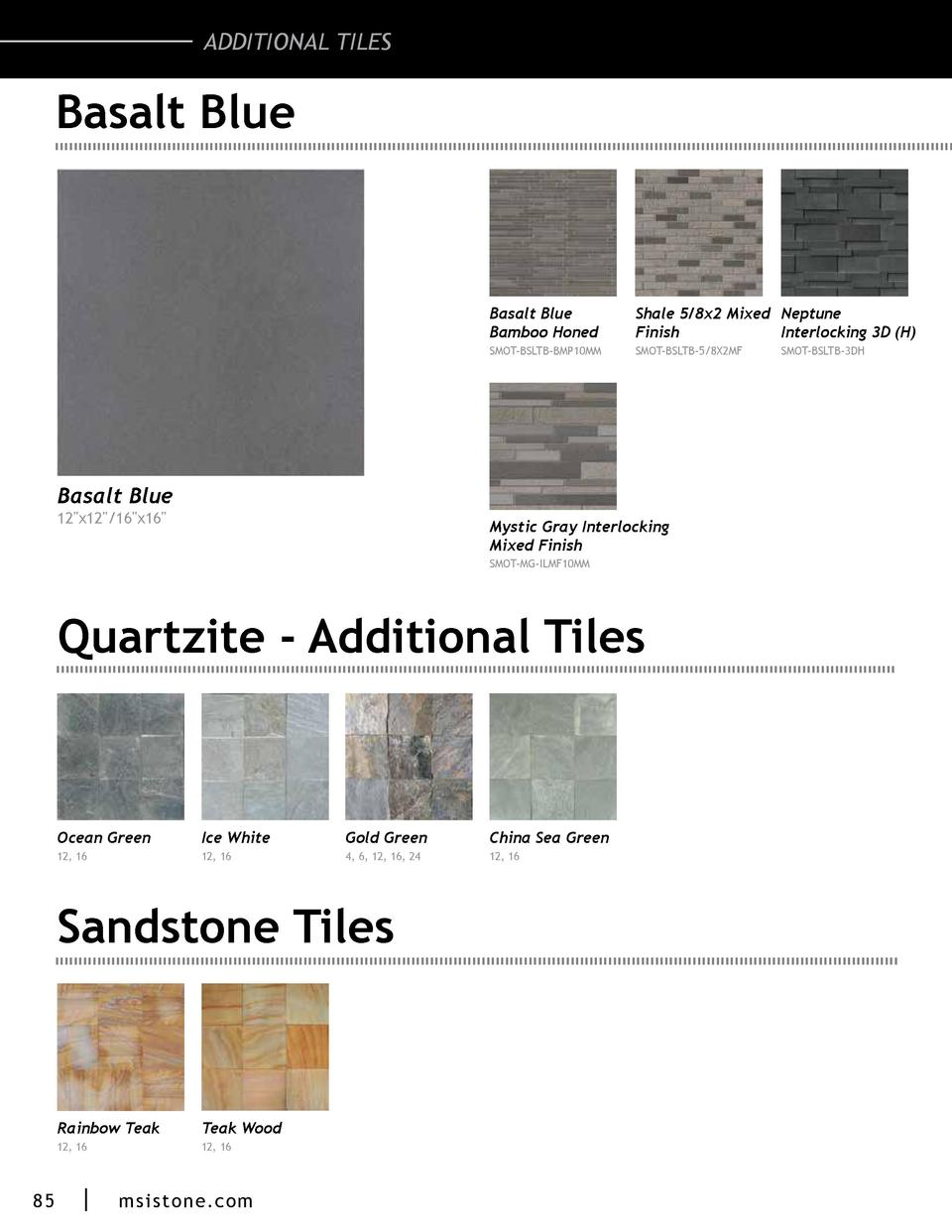 ADDITIONAL TILES  Basalt Blue  Basalt Blue Bamboo Honed  Shale 5 8x2 Mixed Neptune Finish Interlocking 3D  H   SMOT-BSLTB-...
