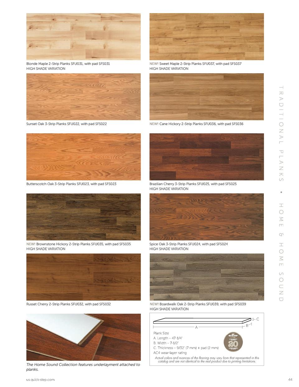 NEW  Sweet Maple 2-Strip Planks SFU037, with pad SFS037 HIGH SHADE VARIATION  Sunset Oak 3-Strip Planks SFU022, with pad S...