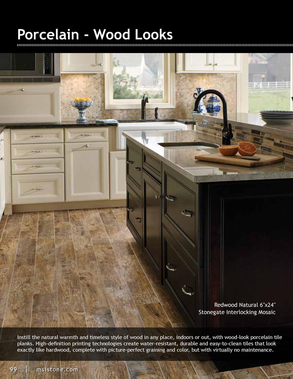Porcelain - Wood Looks  Redwood Natural 6 x24  Stonegate Interlocking Mosaic  Instill the natural warmth and timeless styl...