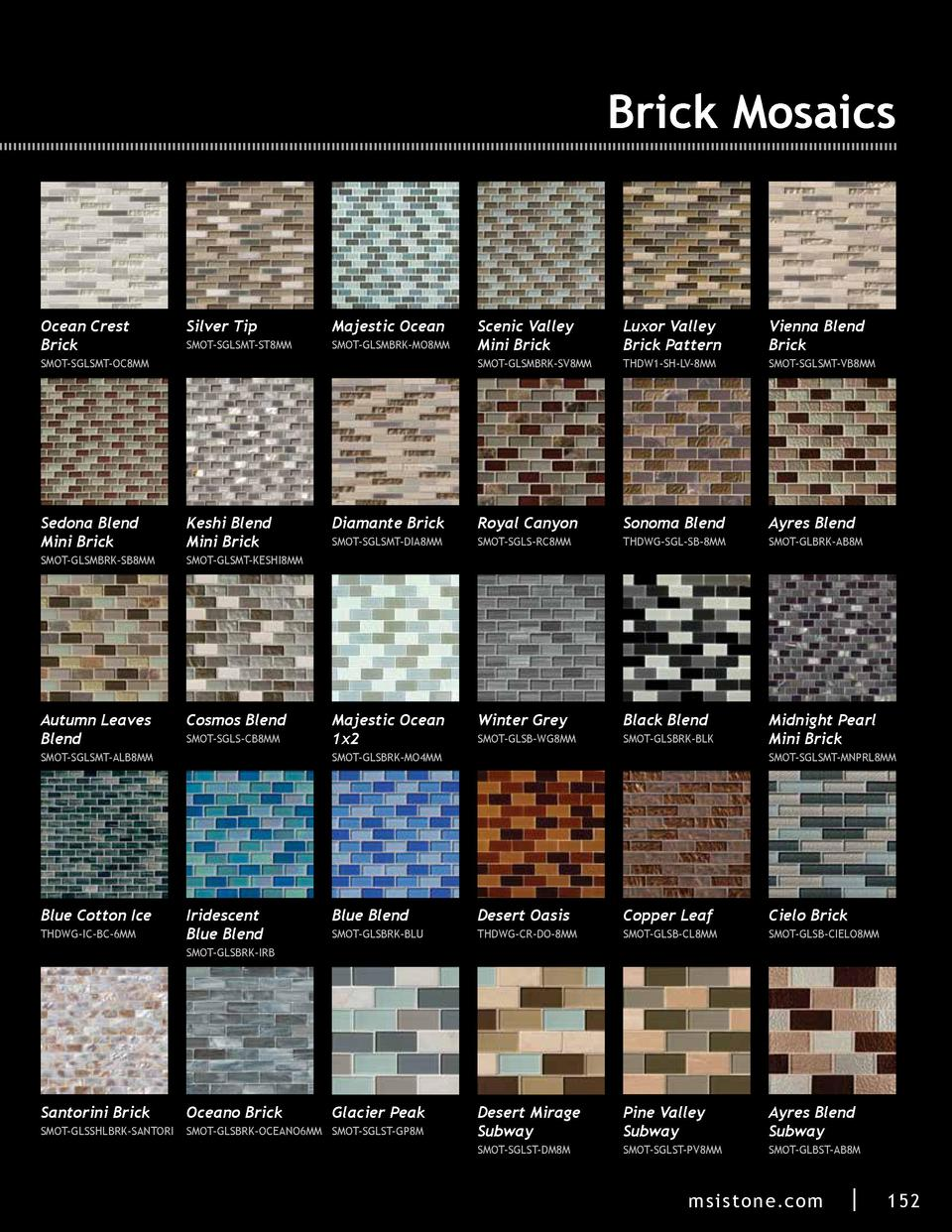 Brick Mosaics  Ocean Crest Brick  Silver Tip  Majestic Ocean  SMOT-SGLSMT-ST8MM  SMOT-GLSMBRK-MO8MM  Scenic Valley Mini Br...