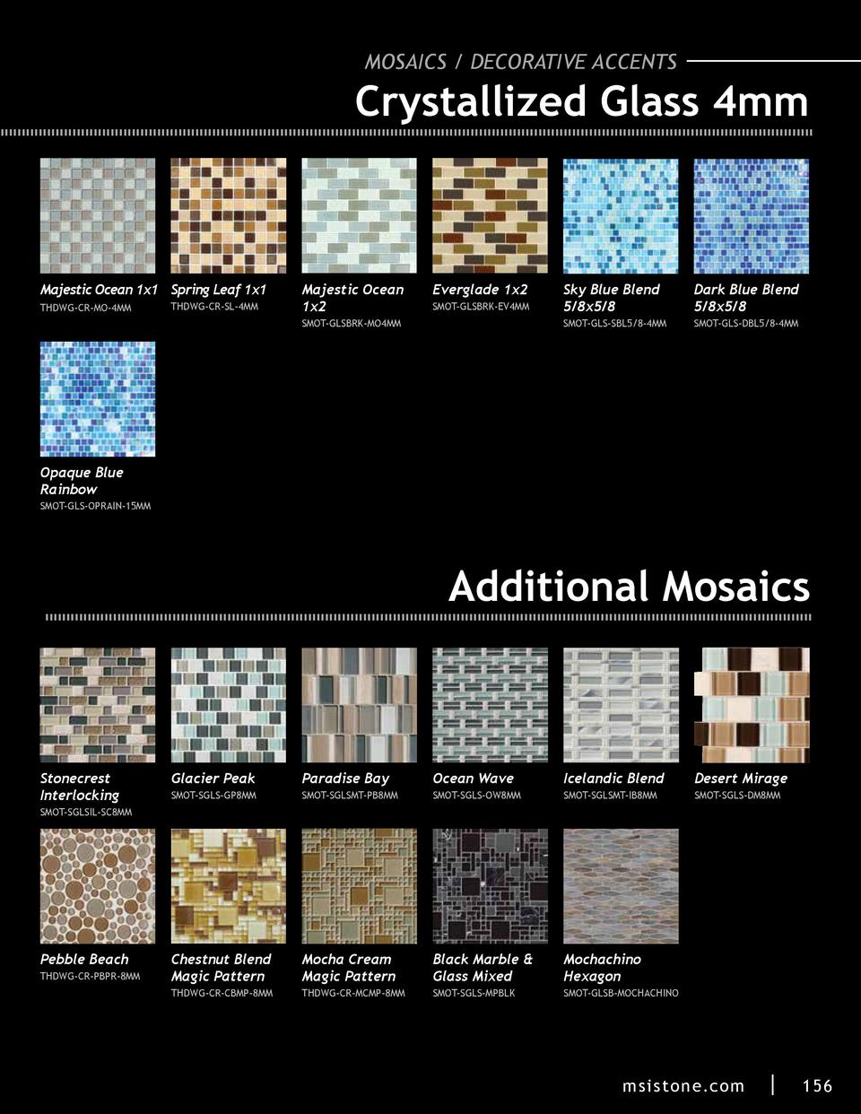 MOSAICS   DECORATIVE ACCENTS  Crystallized Glass 4mm  Majestic Ocean 1x1 Spring Leaf 1x1 THDWG-CR-MO-4MM  THDWG-CR-SL-4MM ...