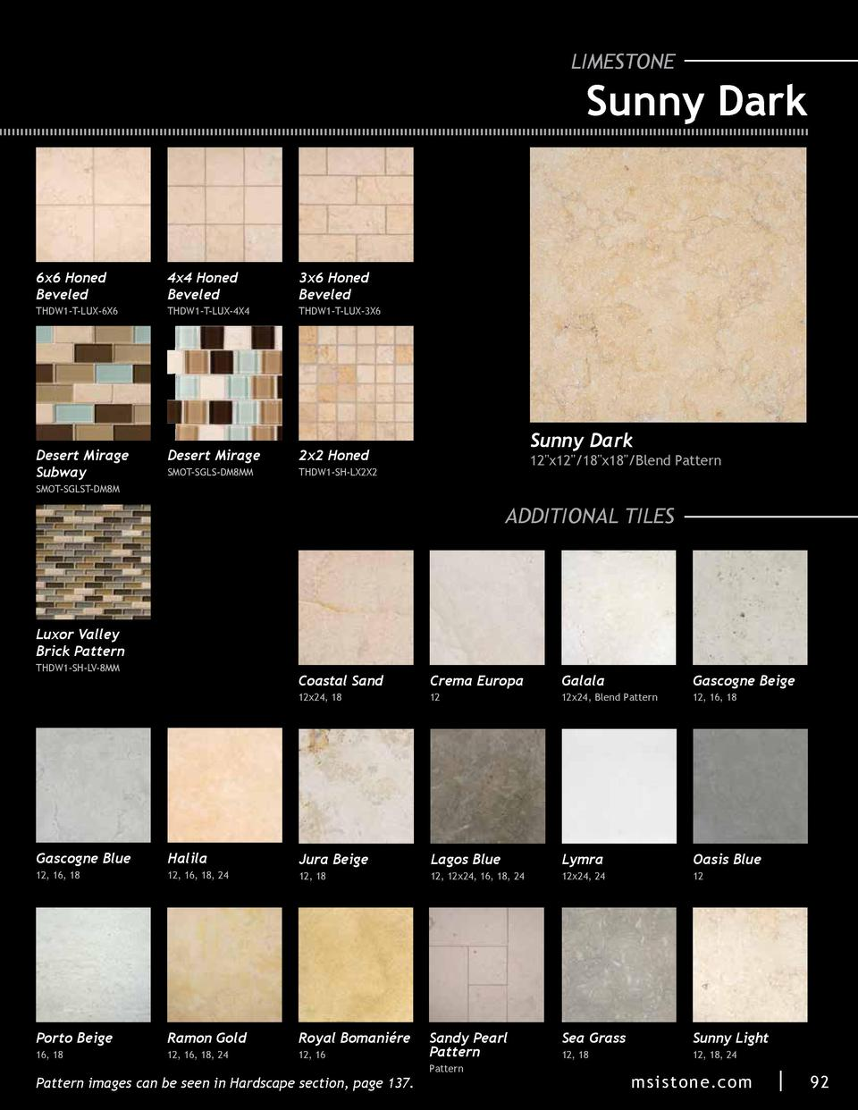 LIMESTONE  Sunny Dark  6x6 Honed Beveled  4x4 Honed Beveled  3x6 Honed Beveled  THDW1-T-LUX-6X6  THDW1-T-LUX-4X4  THDW1-T-...