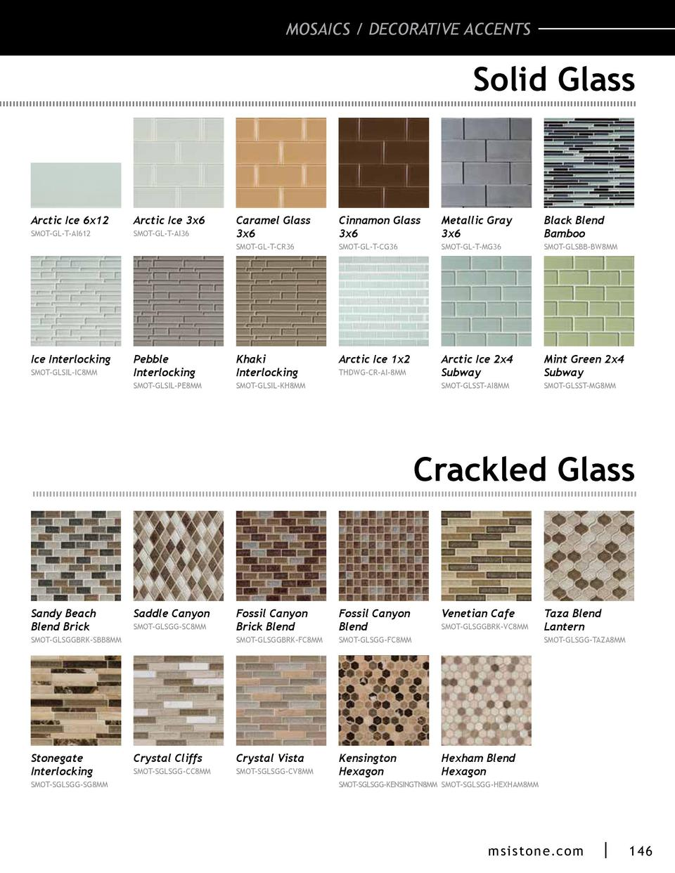 MOSAICS   DECORATIVE ACCENTS  Solid Glass  Arctic Ice 6x12  Arctic Ice 3x6  SMOT-GL-T-AI612  SMOT-GL-T-AI36  Metallic Gray...