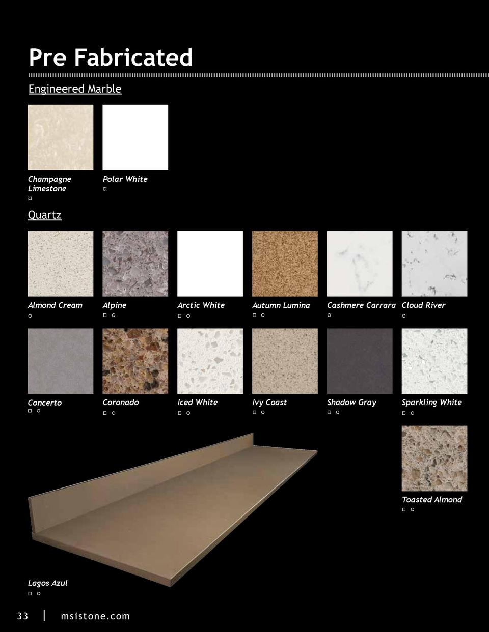 Pre Fabricated Engineered Marble  Champagne Limestone     Polar White     Quartz  Almond Cream  Alpine  Arctic White  Autu...