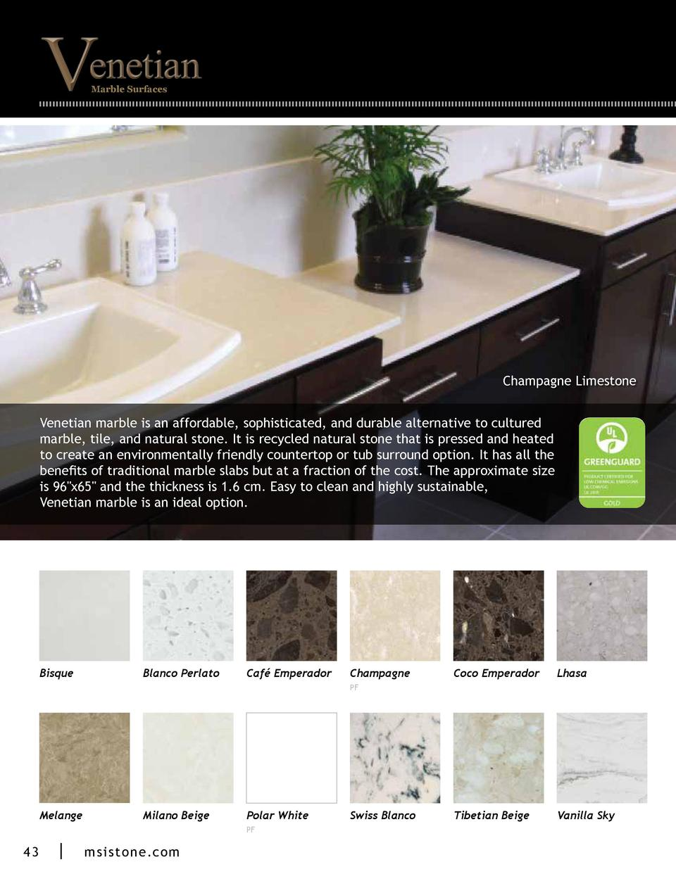 Marble Surfaces  Champagne Limestone Venetian marble is an affordable, sophisticated, and durable alternative to cultured ...