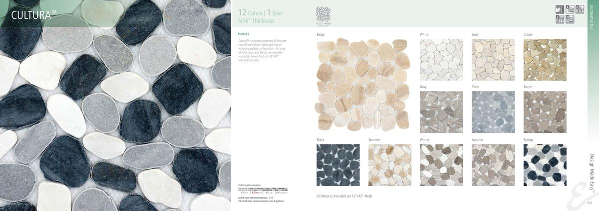 DECORATIVE TILE  CULTURA     12 Colors   1 Size  5 16    Thickness  12   x12    Pebble 12.01   x12.01     PEBBLES  Beige  ...