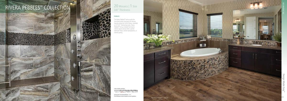 DECORATIVE TILE  RIVERA PEBBLES COLLECTION      20 Mosaics   1 Size  3 8    Thickness PEBBLES  The Rivera Pebbles    serie...