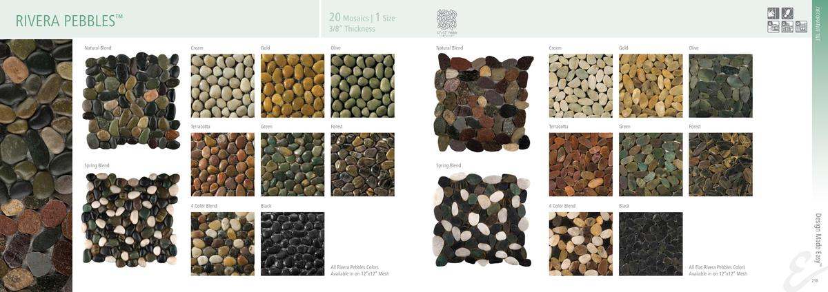 DECORATIVE TILE  20 Mosaics   1 Size  RIVERA PEBBLES     3 8    Thickness  12   x12    Pebble 11.81   x11.81     Natural B...