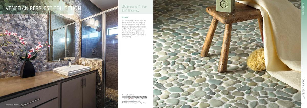 DECORATIVE TILE  VENETIAN PEBBLES COLLECTION      26 Mosaics   1 Size  3 8    Thickness PEBBLES  The Venetian Pebbles    s...