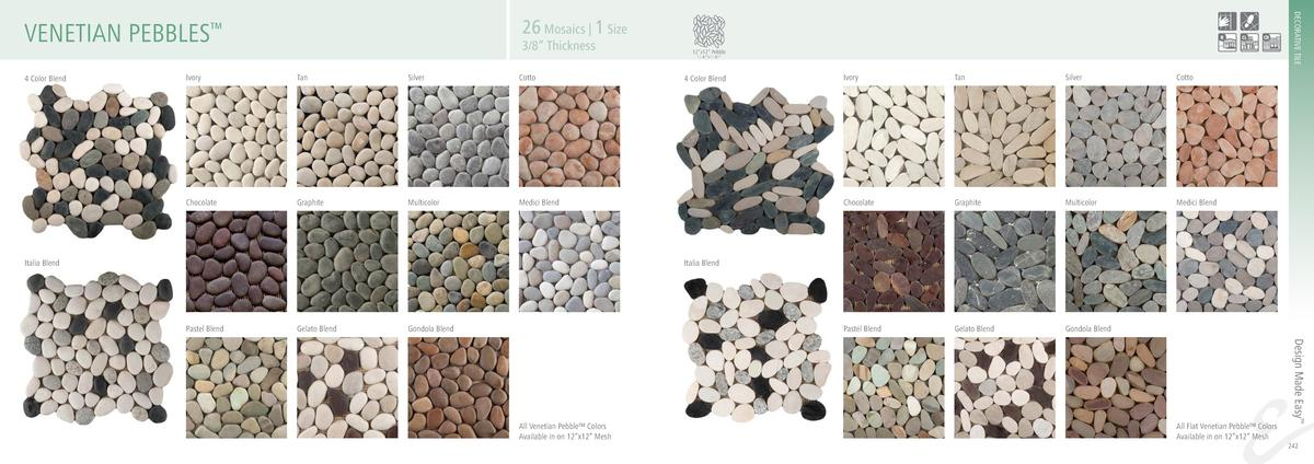 DECORATIVE TILE  26 Mosaics   1 Size  VENETIAN PEBBLES     3 8    Thickness  12   x12    Pebble 11.81   x11.81     Tan  Si...
