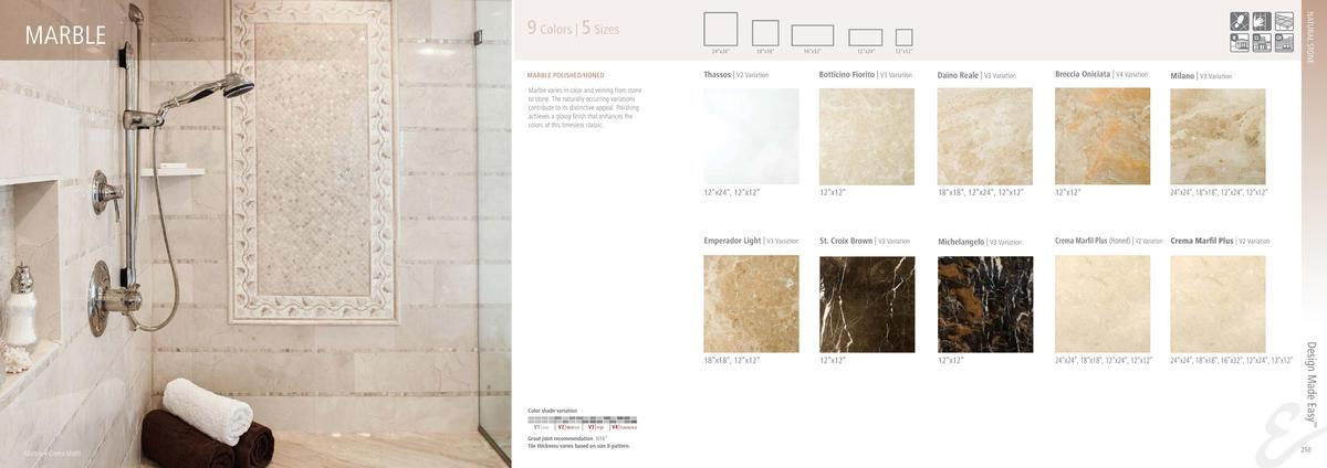 NATURAL STONE  MARBLE  9 Colors   5 Sizes 24   x24     18   x18     16   x32     12   x24     12   x12     Thassos   V2 Va...