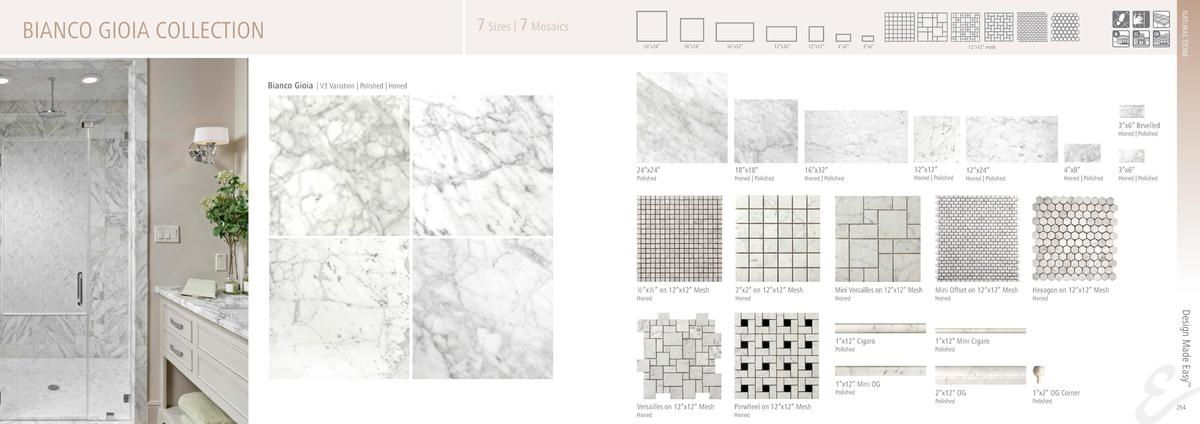 NATURAL STONE  7 Sizes   7 Mosaics  BIANCO GIOIA COLLECTION  24   x24     18   x18     16   x32     12   x24     12   x12 ...