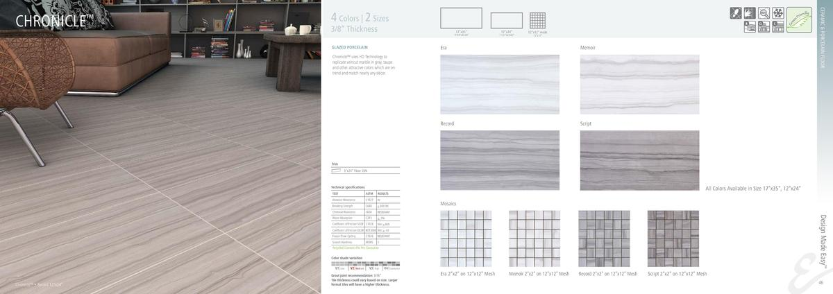 CERAMIC   PORCELAIN FLOOR  CHRONICLE     4 Colors   2 Sizes  3 8    Thickness  17   x35     17.04   x35.04     12   x24   ...