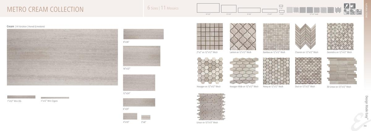 METRO CREAM COLLECTION  NATURAL STONE  6 Sizes   11 Mosaics  3   x6     16   x32     12   x24     8   x36     6   x24     ...