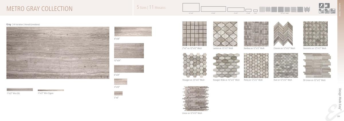 NATURAL STONE  5 Sizes   11 Mosaics  METRO GRAY COLLECTION  12   x24     8   x36     6   x24     4   x10     3   x6     12...