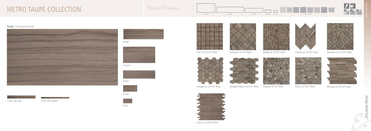 NATURAL STONE  5 Sizes   11 Mosaics  METRO TAUPE COLLECTION  12   x24     8   x36     6   x24     4   x10     3   x6     1...