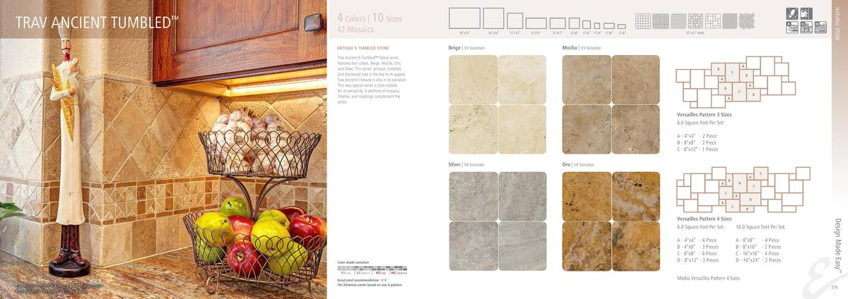 NATURAL STONE  TRAV ANCIENT TUMBLED       4 Colors   10 Sizes  42 Mosaics  16   x24     16   x16     Beige   V3 Variation ...