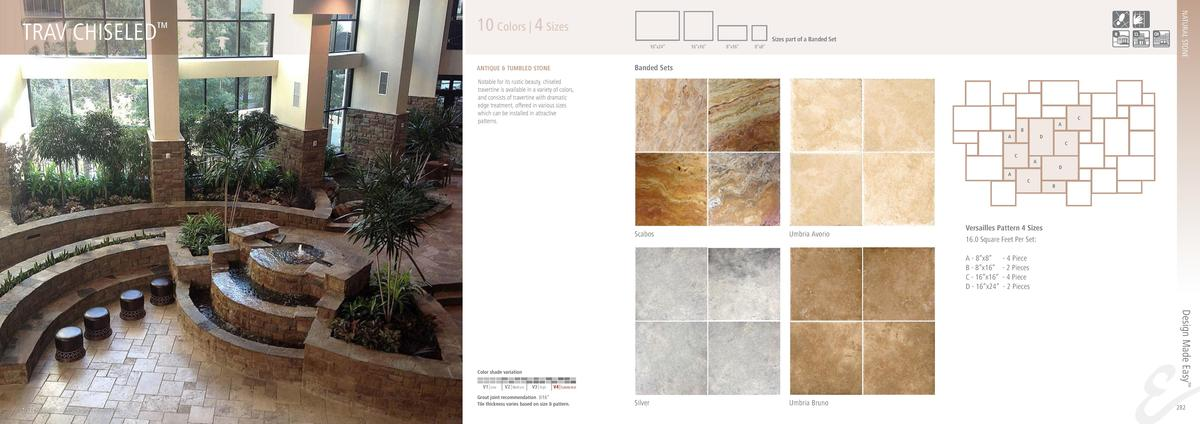 NATURAL STONE  TRAV CHISELED       10 Colors   4 Sizes Sizes part of a Banded Set 16   x24     16   x16     8   x16     8 ...