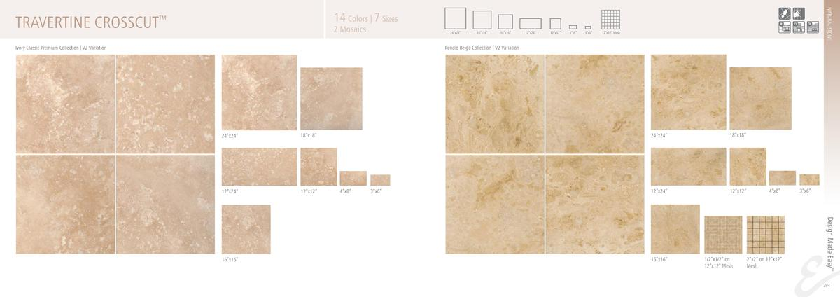 NATURAL STONE  14 Colors   7 Sizes  TRAVERTINE CROSSCUT       2 Mosaics  24   x24     Ivory Classic Premium Collection   V...