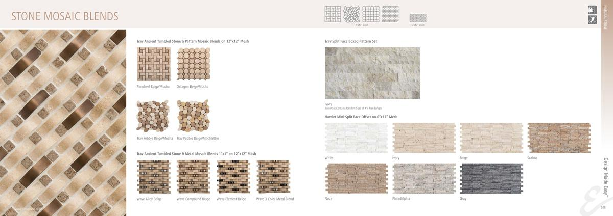 NATURAL STONE  STONE MOSAIC BLENDS 12   x12    mesh  Trav Ancient Tumbled Stone   Pattern Mosaic Blends on 12   x12    Mes...