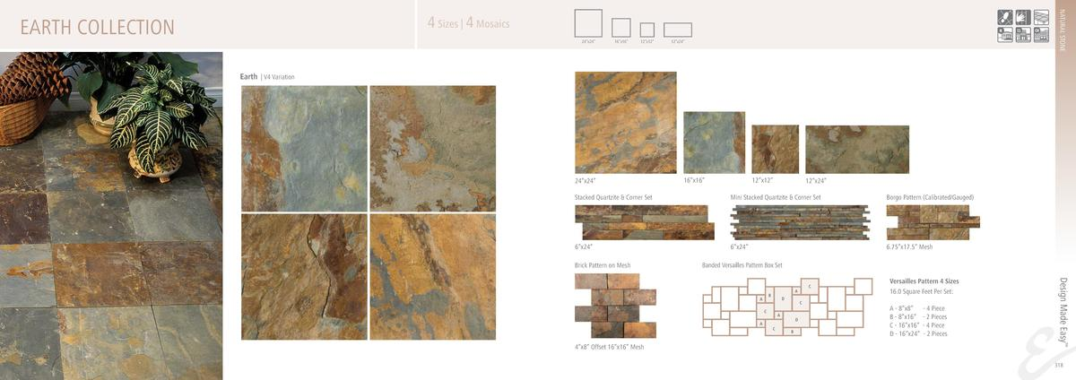 NATURAL STONE  4 Sizes   4 Mosaics  EARTH COLLECTION  24   x24     16   x16     12   x12     12   x24     Earth   V4 Varia...