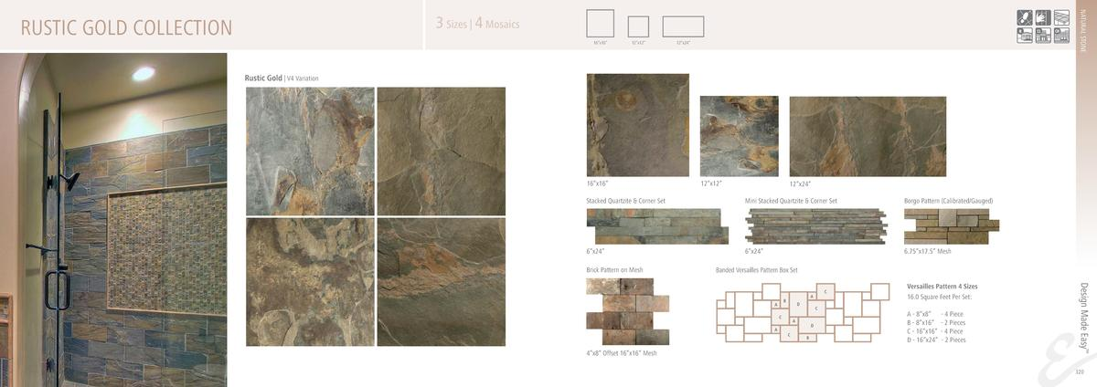 NATURAL STONE  3 Sizes   4 Mosaics  RUSTIC GOLD COLLECTION  16   x16     12   x12     12   x24     Rustic Gold   V4 Variat...