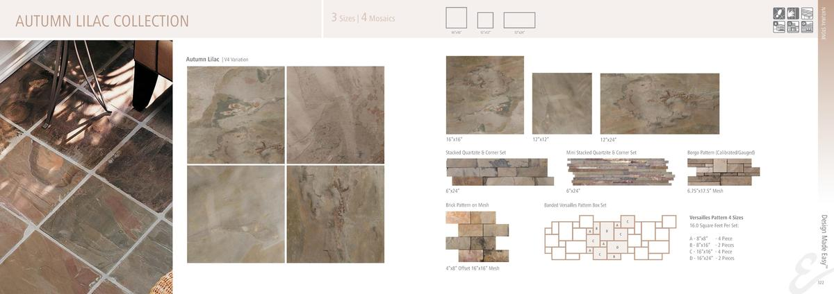 NATURAL STONE  AUTUMN LILAC COLLECTION  3 Sizes   4 Mosaics 16   x16     12   x12     12   x24     Autumn Lilac   V4 Varia...