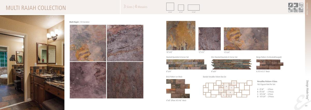 NATURAL STONE  3 Sizes   4 Mosaics  MULTI RAJAH COLLECTION  16   x16     12   x12     12   x24     Multi Rajah   V4 Variat...
