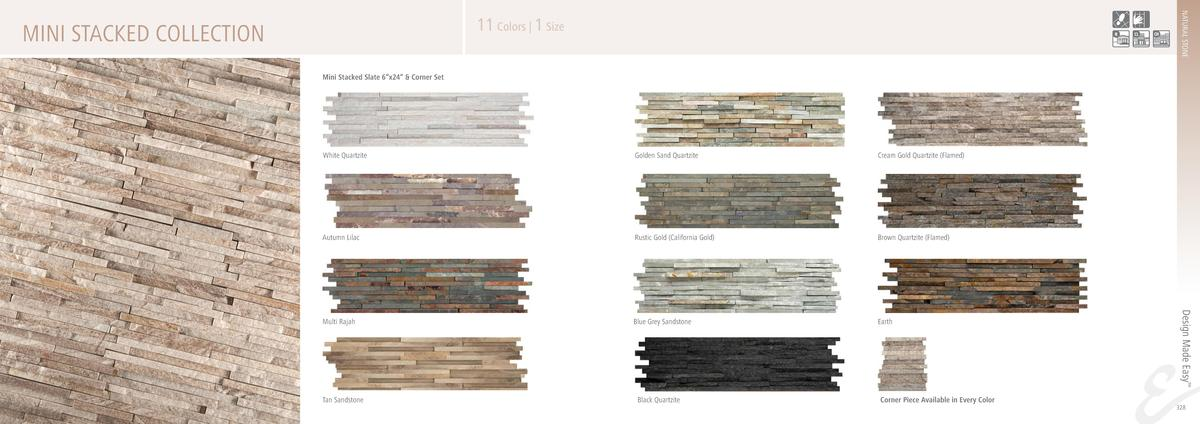NATURAL STONE  11 Colors   1 Size  MINI STACKED COLLECTION Mini Stacked Slate 6   x24      Corner Set  Golden Sand Quartzi...