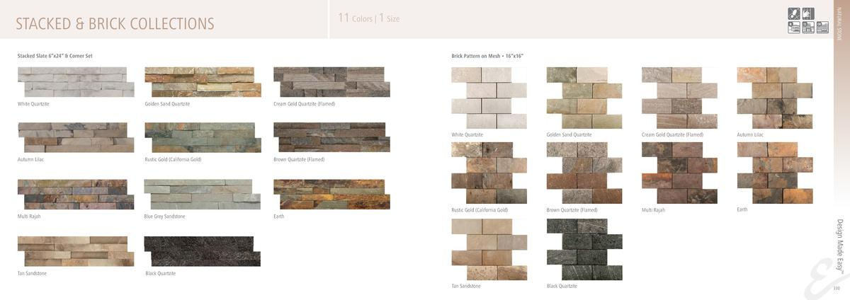 STACKED   BRICK COLLECTIONS Stacked Slate 6   x24      Corner Set  White Quartzite  NATURAL STONE  11 Colors   1 Size Bric...