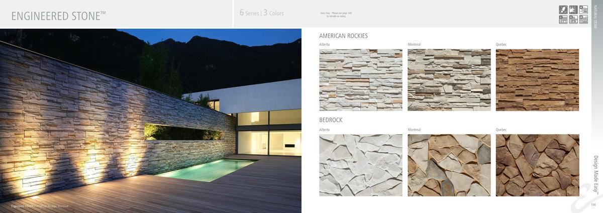 6 Series   3 Colors  NATURAL STONE  ENGINEERED STONE       Sizes Vary - Please see page 340 for details on sizing  AMERICA...
