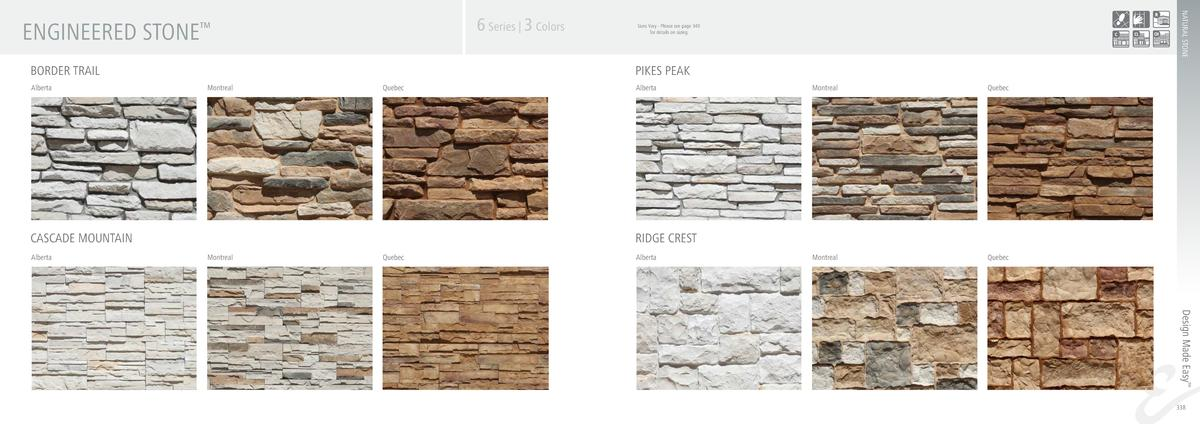 ENGINEERED STONE BORDER TRAIL Alberta  Sizes Vary - Please see page 340 for details on sizing  PIKES PEAK Montreal  Quebec...