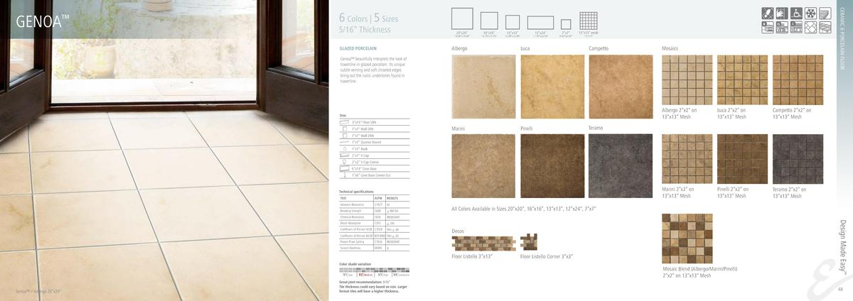 CERAMIC   PORCELAIN FLOOR  GENOA     6 Colors   5 Sizes  5 16    Thickness  20   x20     19.69   x19.69     16   x16     1...