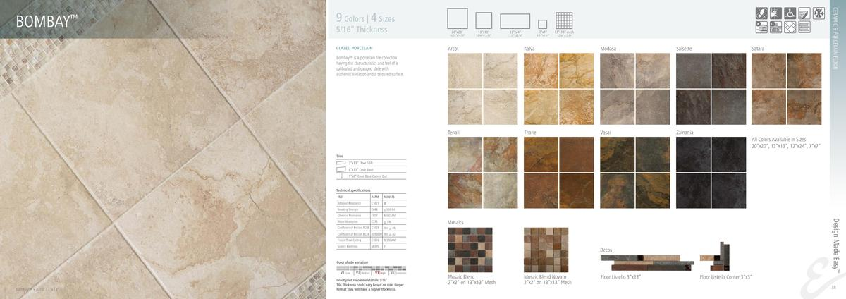 9 Colors   4 Sizes  5 16    Thickness  20   x20     19.70   x19.70     GLAZED PORCELAIN  13   x13     12.90   x12.90     1...