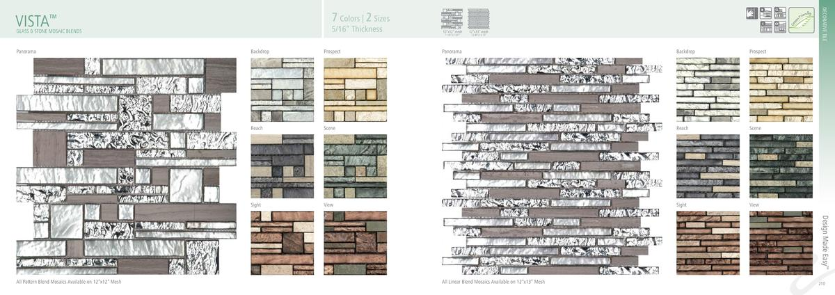 5 16    Thickness  GLASS   STONE MOSAIC BLENDS  Panorama  DECORATIVE TILE  7 Colors   2 Sizes  VISTA     Backdrop  Prospec...