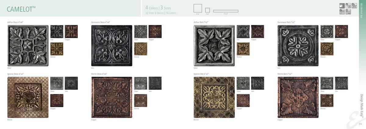 DECORATIVE TILE  4 Colors   3 Sizes  CAMELOT     32 Dots   Decos   16 Liners  Arthur Deco 4   x4     Guinevere Deco 4   x4...