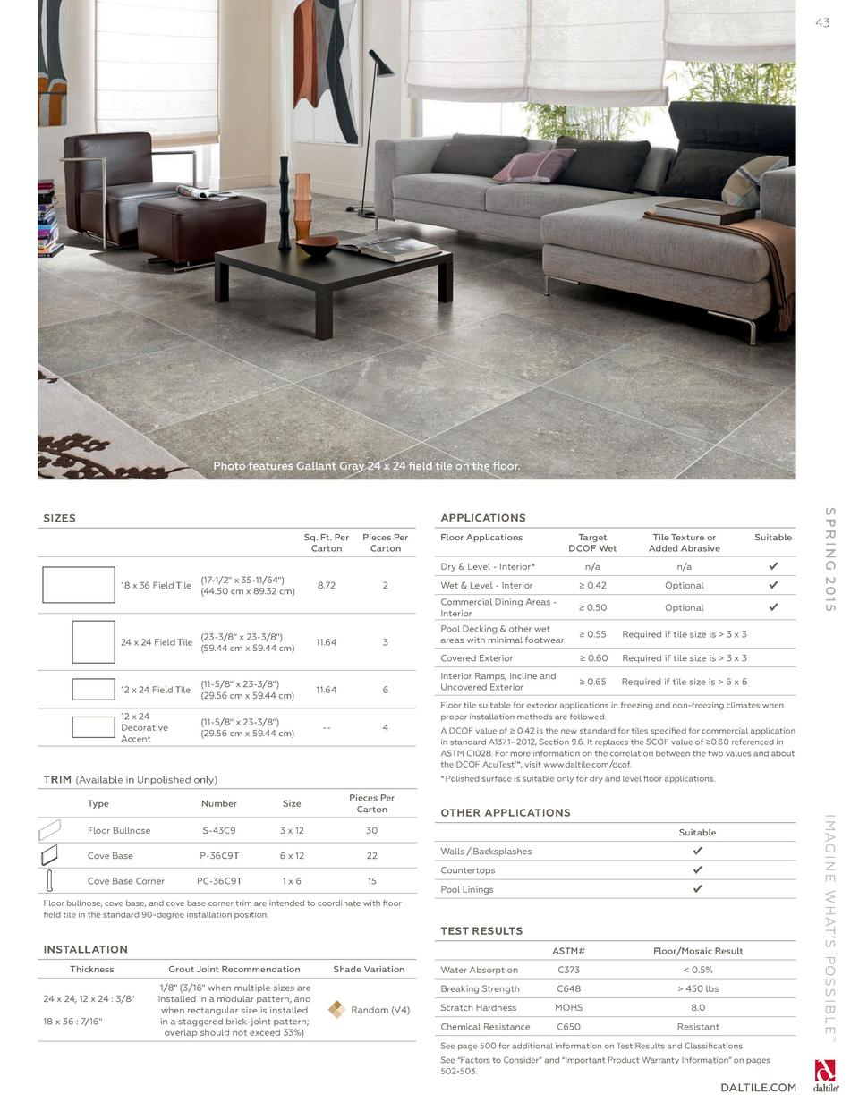 43 Photo Features Gallant Gray 24 X Field Tile On The Floor Sq