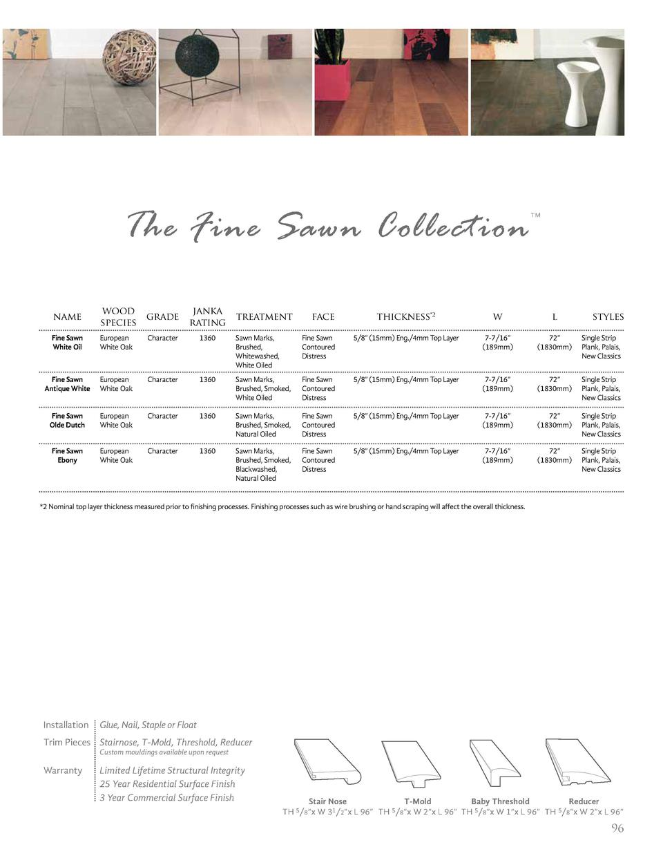The Fine Sawn Collection name  wood grade species  janka rating  Fine Sawn White Oil  European White Oak  Character  1360 ...