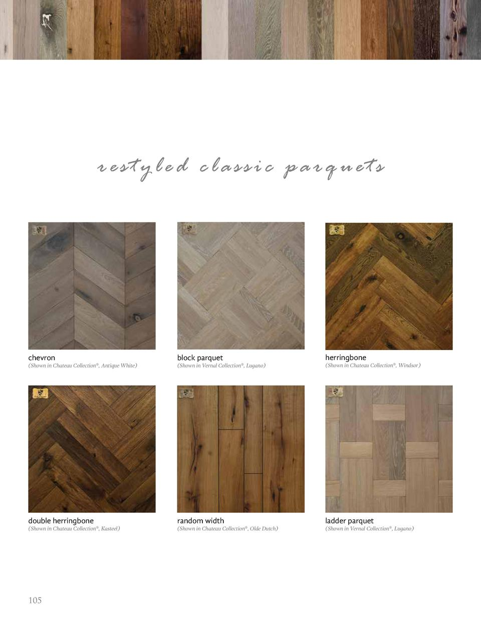 restyled classic parquets  chevron  block parquet  herringbone   Shown in Chateau Collection  , Antique White    Shown in ...