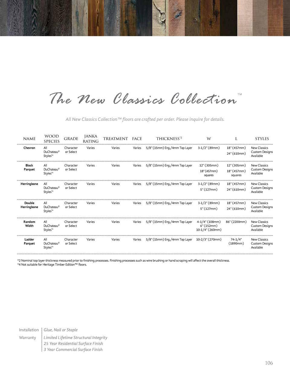 The New Classics Collection       All New Classics Collection    floors are crafted per order. Please inquire for details....