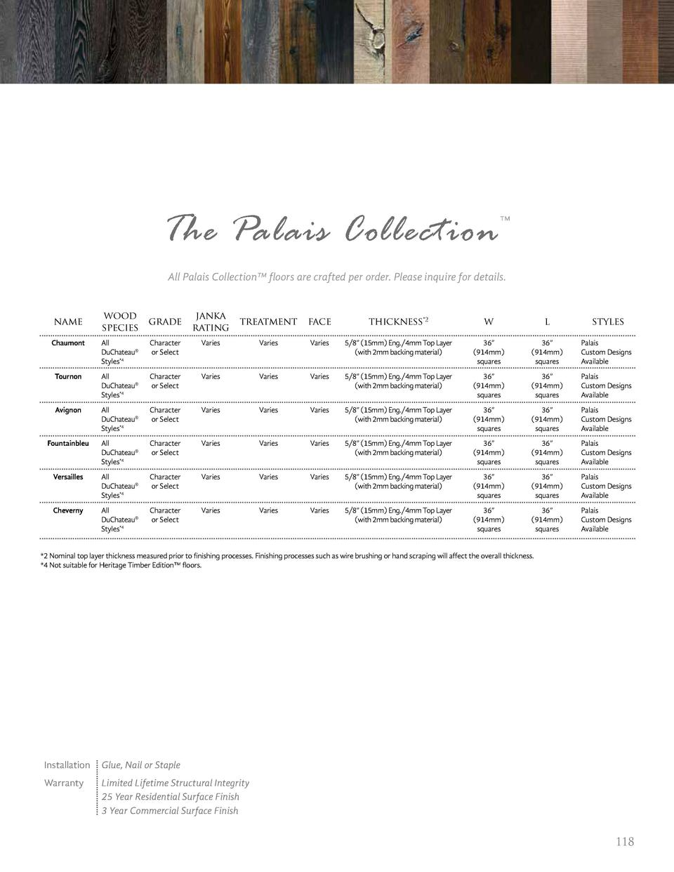 The Palais Collection       All Palais Collection    floors are crafted per order. Please inquire for details.  name  wood...