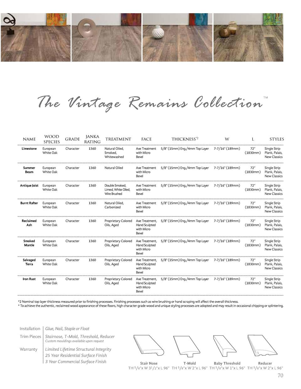 The Vintage Remains Collection name  wood species  grade  janka rating  treatment  face  thickness 2  w  l       styles  L...