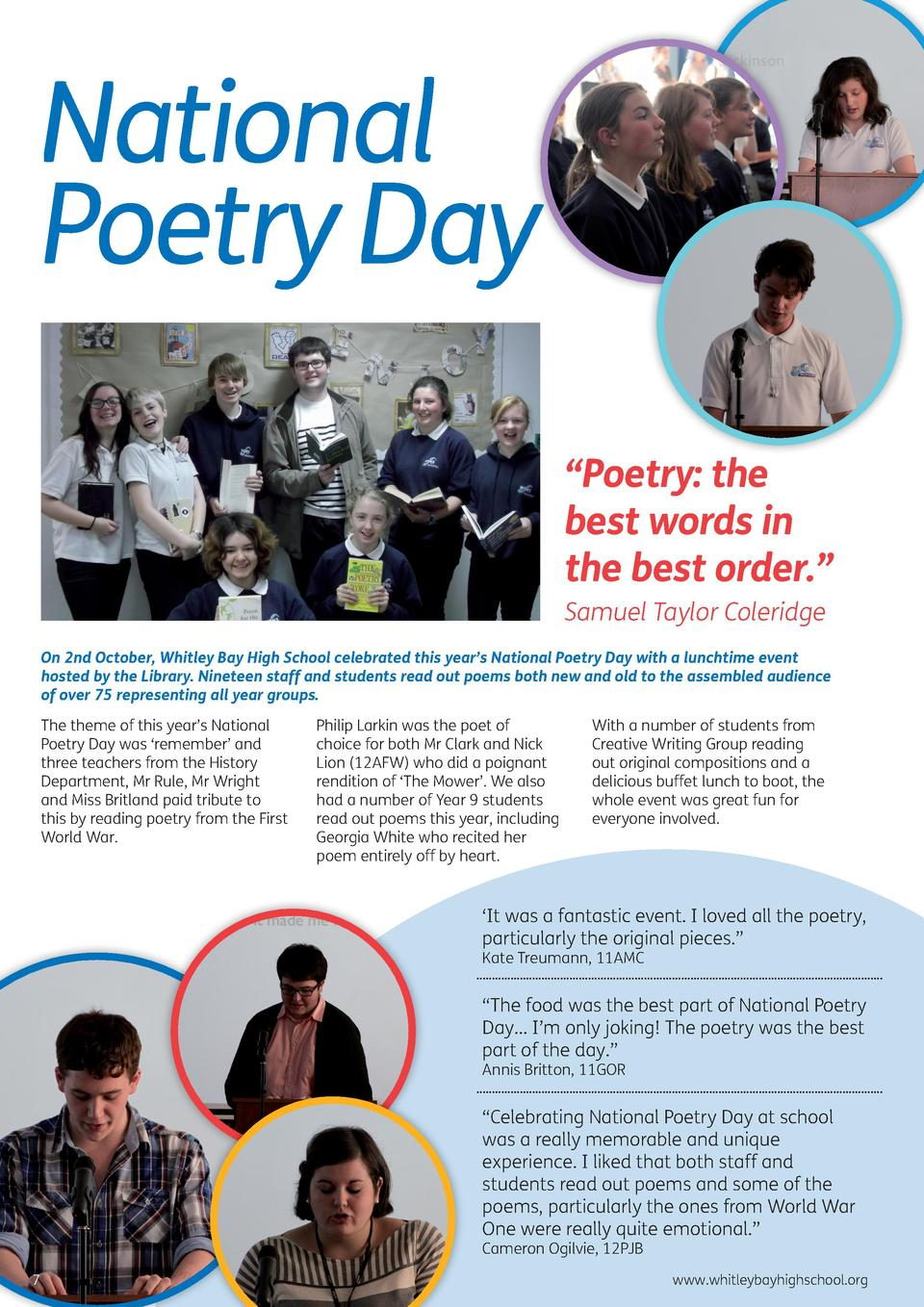 National Poetry Day    Poetry  the best words in the best order.    Samuel Taylor Coleridge On 2nd October, Whitley Bay Hi...