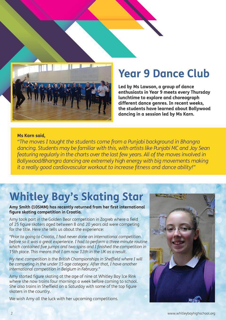 Year 9 Dance Club Led by Ms Lawson, a group of dance enthusiasts in Year 9 meets every Thursday lunchtime to explore and c...