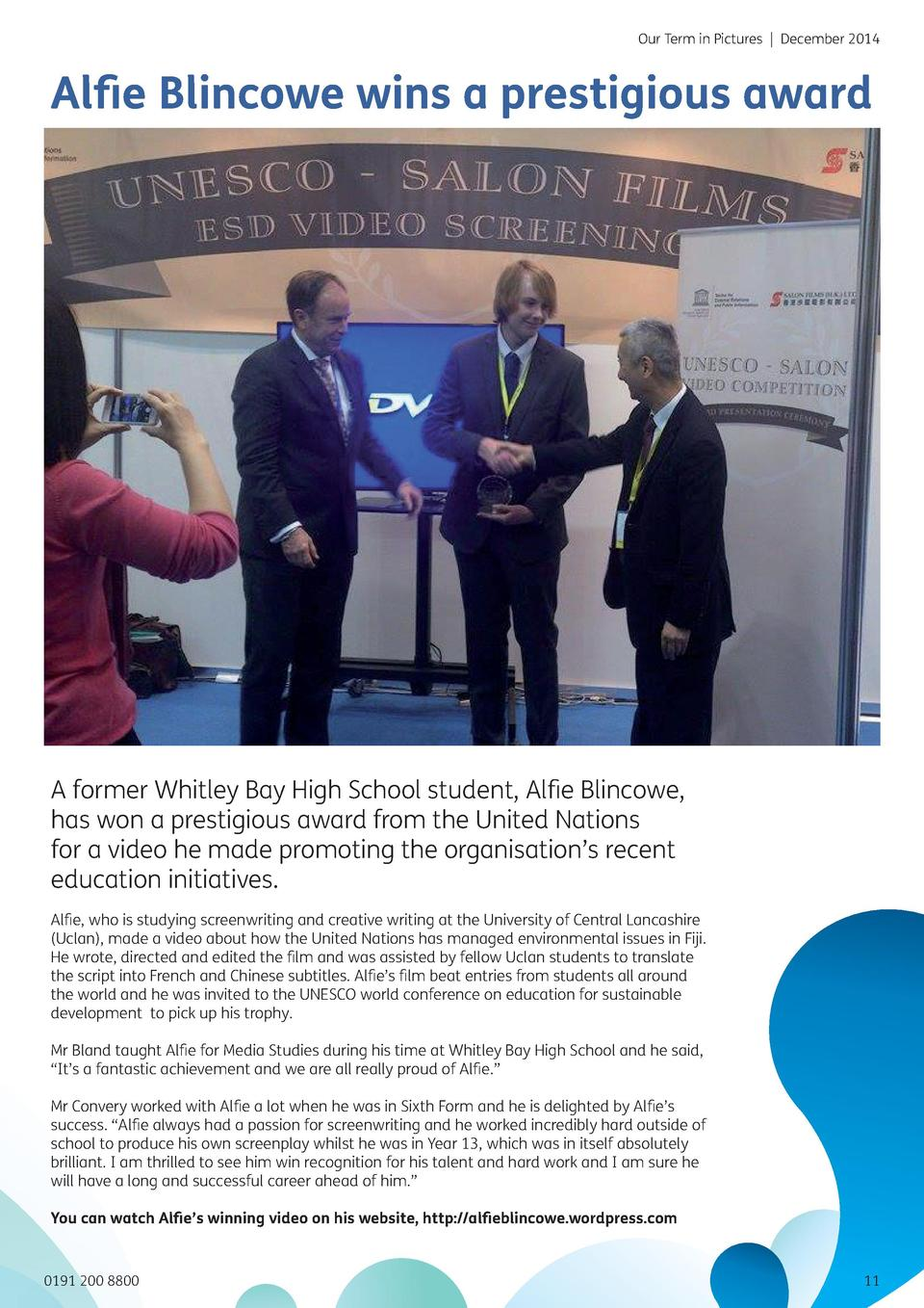 Our Term in Pictures   December 2014  Al   e Blincowe wins a prestigious award  A former Whitley Bay High School student, ...
