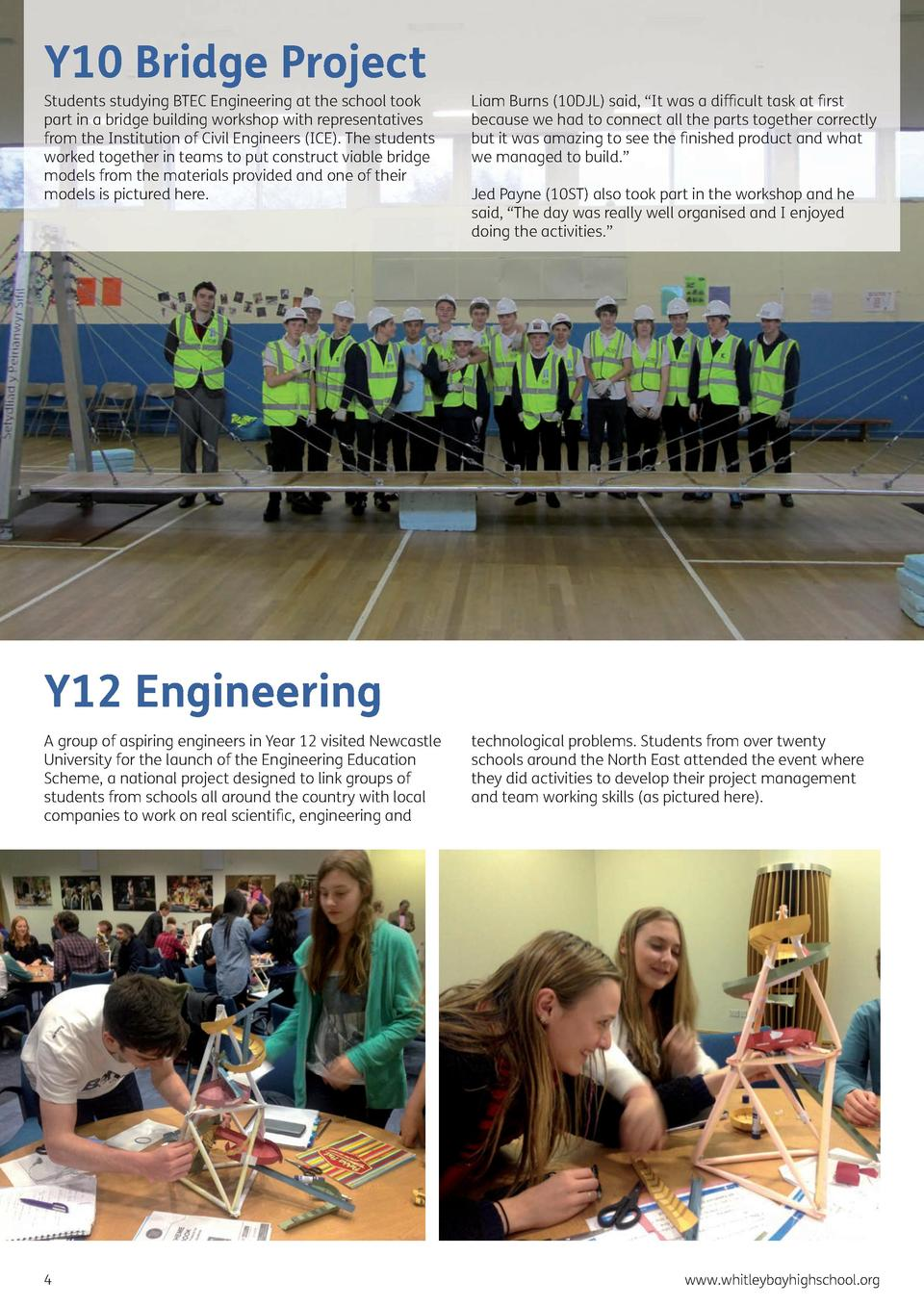 Y10 Bridge Project  Students studying BTEC Engineering at the school took part in a bridge building workshop with represen...