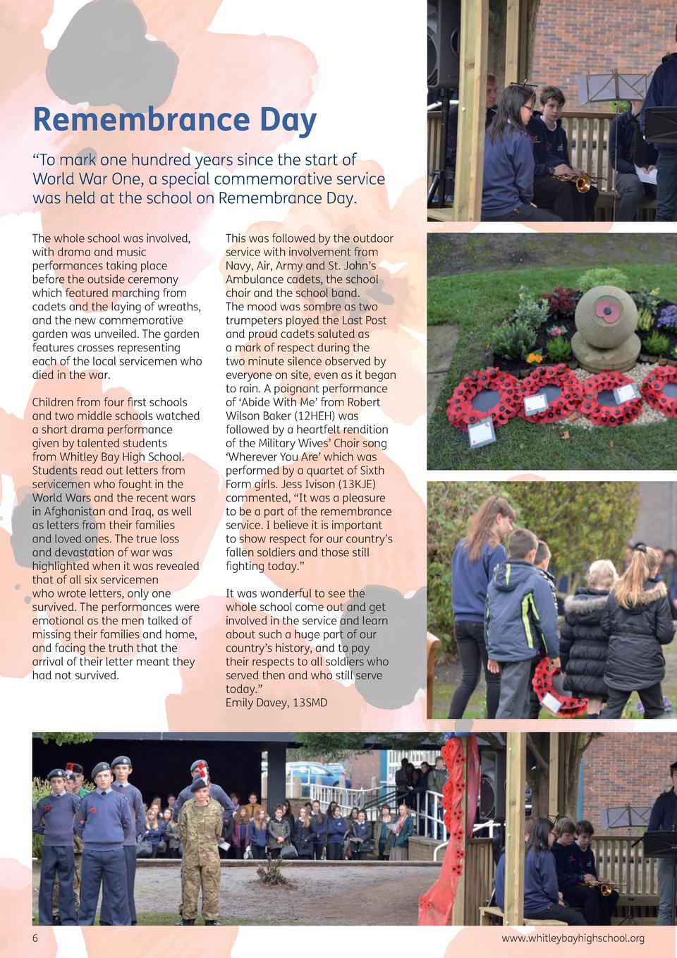 Remembrance Day    To mark one hundred years since the start of World War One, a special commemorative service was held at...