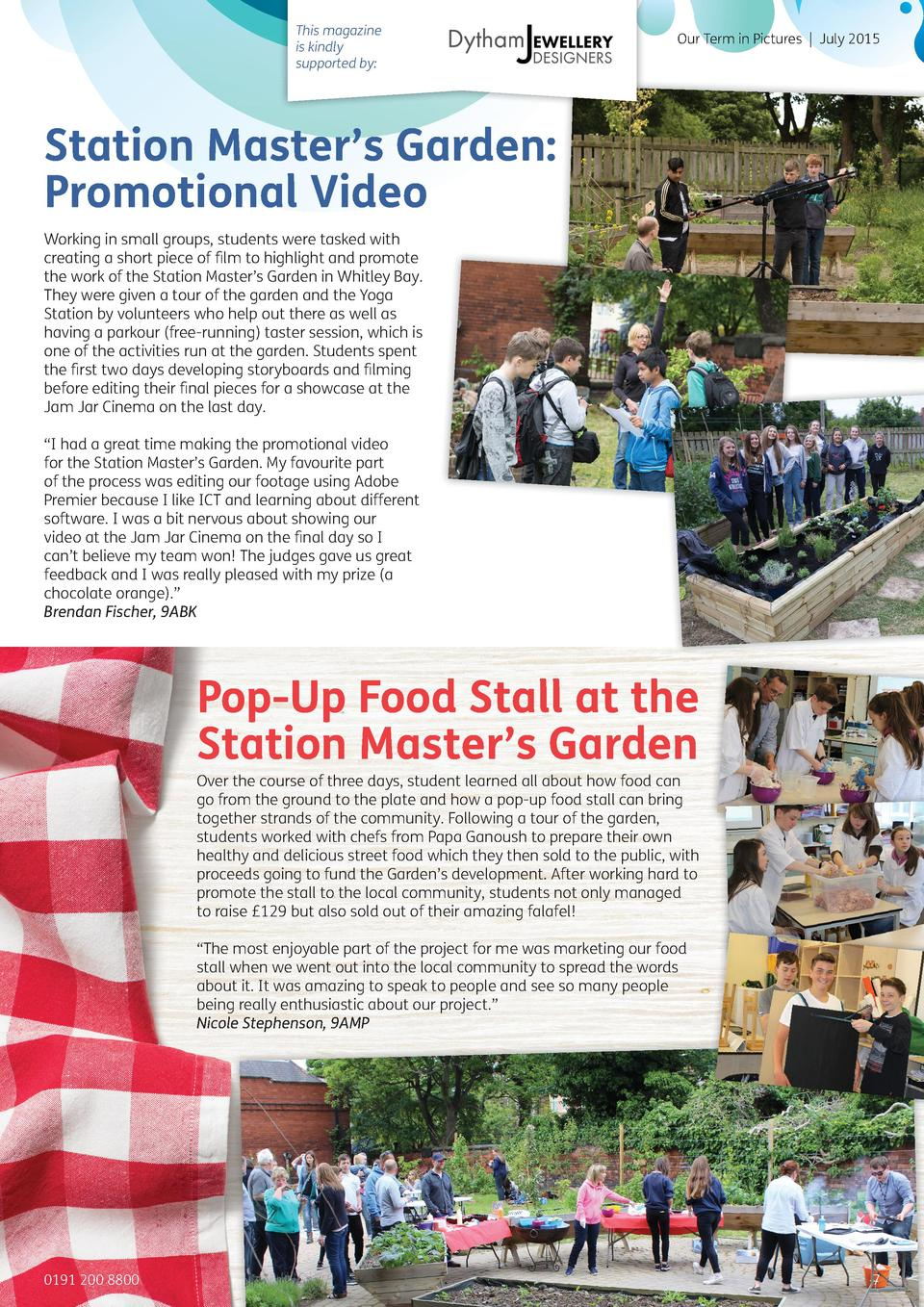 This magazine is kindly supported by   Our Term in Pictures   July 2015  Station Master   s Garden  Promotional Video Work...