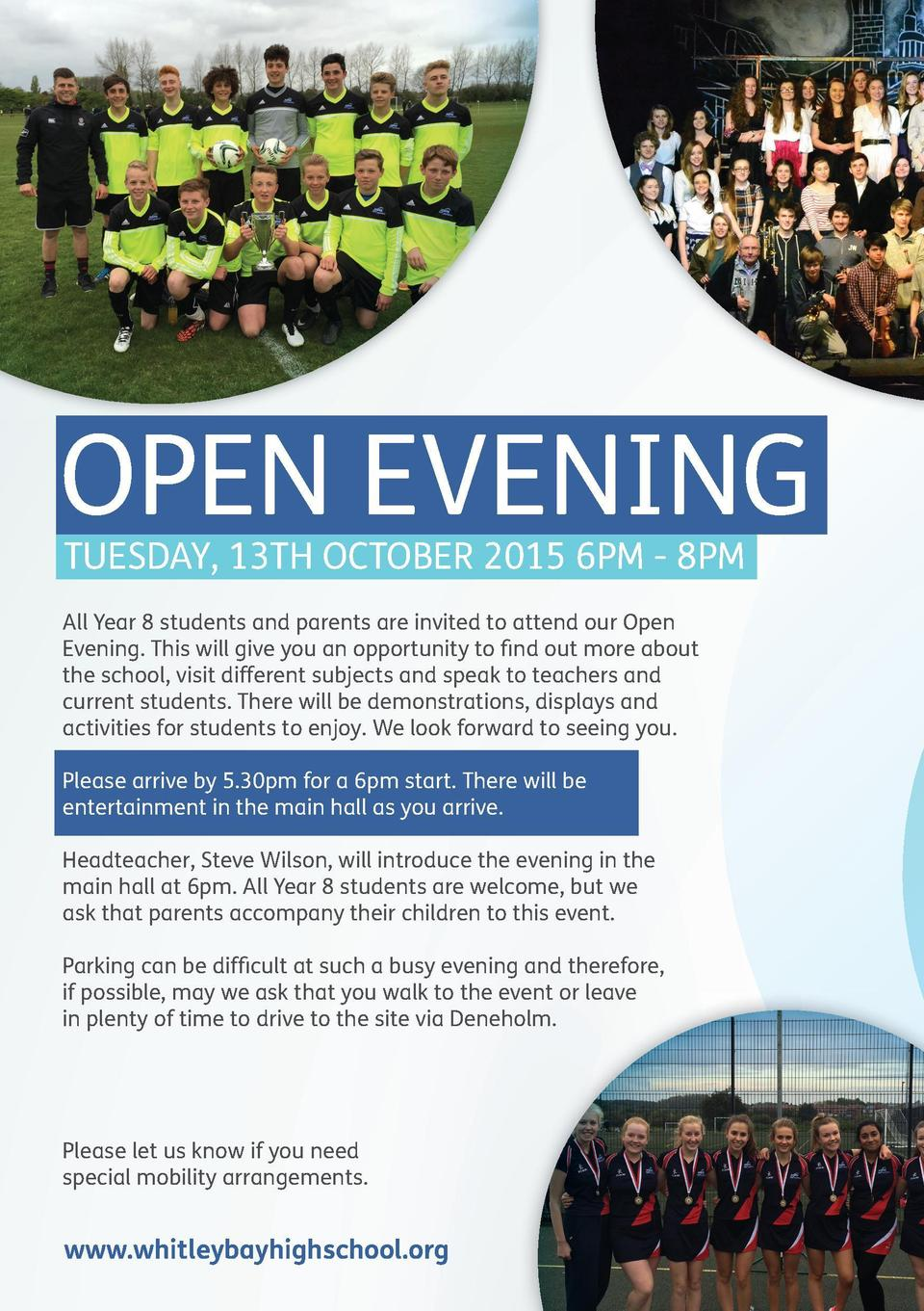 OPEN EVENING TUESDAY, 13TH OCTOBER 2015 6PM - 8PM  All Year 8 students and parents are invited to attend our Open Evening....