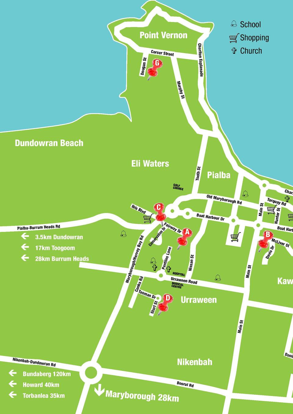 School  Point Vernon  Shopping Charlton Esplanade  Corser St St  reet  Dougan  G      Church  Murp hy St  Dundowran Be...